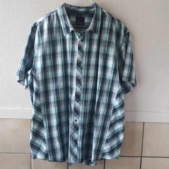 Clothing, Shoes & Accessories Prana Mens Medium Short Sleeve Snap Front Shirt Plaid Euc Shirts